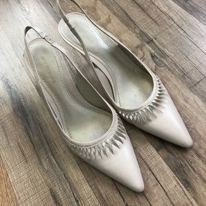 Ann Taylor Cream Leather Sling Back Heels 5.5